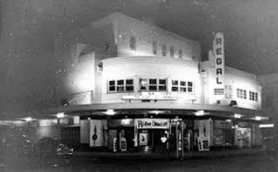 """Regal Cinema, Gosford at night circa 1953  The bible epic """"The Robe"""" was playing in Cinemascope."""