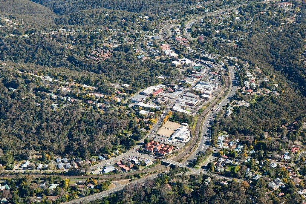 Aerial photo of Springwood Town Centre, the district centre providing commercial and community services for the Lower Mountains.